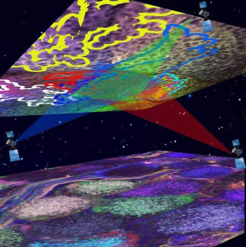 """researchers have developed a method to map the circuitry of the brain with a """"Neuronal Positioning System"""" (NPS) similar to how a Global Positioning System (GPS) triangulates our location on the planet. Image credit: Dr. Shlomo Tsuriel and Dr. Alex Binshtok, Hebrew University of Jerusalem."""